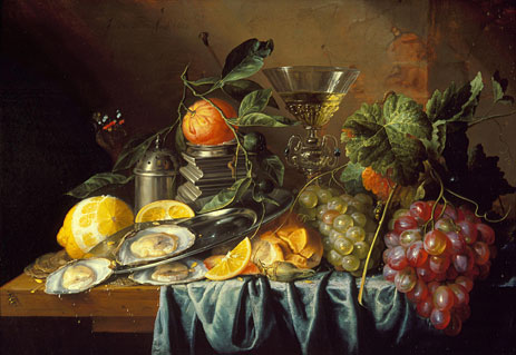 """One of My Two Favorite Paintings at LACMA: Jan de Heem's """"Still Life with Oysters and Grapes"""""""