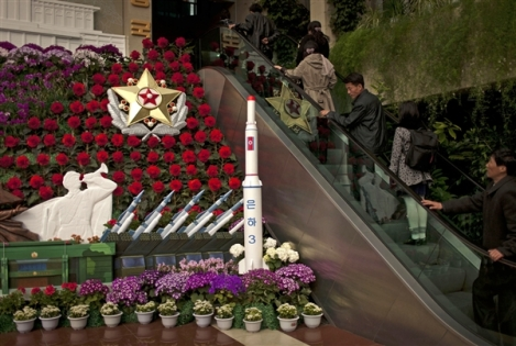 A North Korean Flower Show with—What Else?—A Model of a Missile