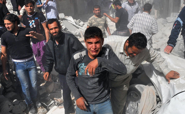 A Horrific Video of Bashar's Jets Bombing a Village Filled with Refugees