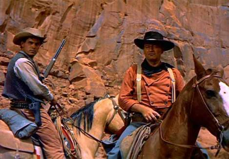 John Wayne and Jeffrey Hunter in The Searchers (1956)