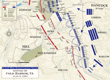Schematic of the Battle of Cold Harbor
