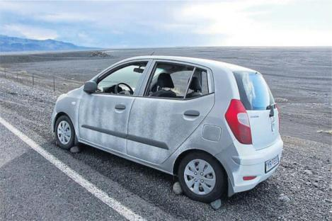 Rental Car Sandblasted by Storm in Southeast Iceland