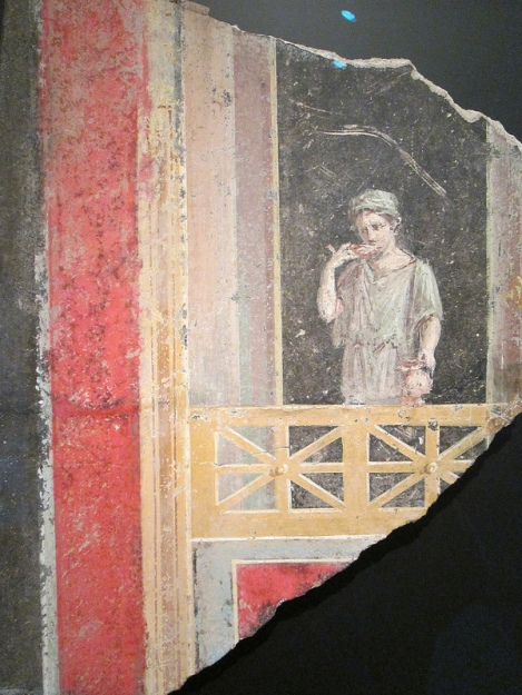 Fresco of a Young Woman on a Balcony