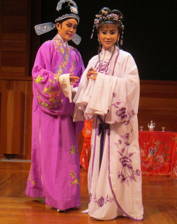 Two Taiwanese Opera Performers Dressed for a Scene from The Butterfly Lover