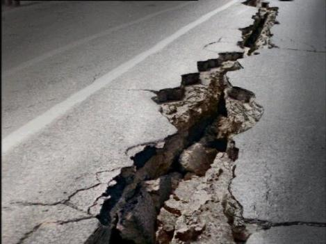 Earthquake Fissure in Road