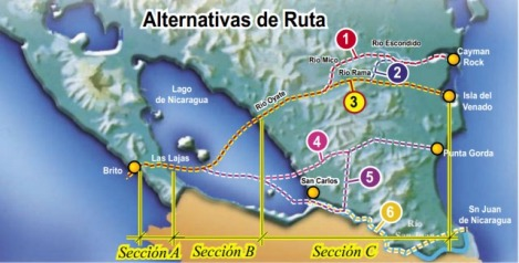 Routes Being Considered for the New Nicaraguan Canal
