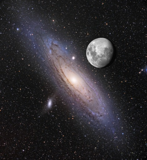 The Spiral M31 (Andromeda) Galaxy With Our Moon in the Foreground