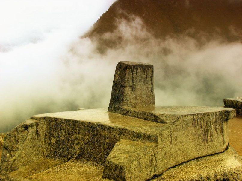 "An Intihuatana, or ""Hitching Post of the Sun"" at Machu Picchu"