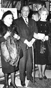 Jorge Luis Borges Flanked by His Mother and His Wife Elsa