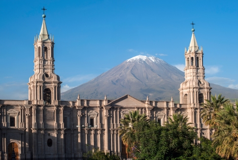 The Volcano El Misti Rises Above the Cathedral of Arequipa