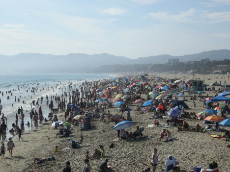 Crowds on the Beach North of the Santa Monica Pier