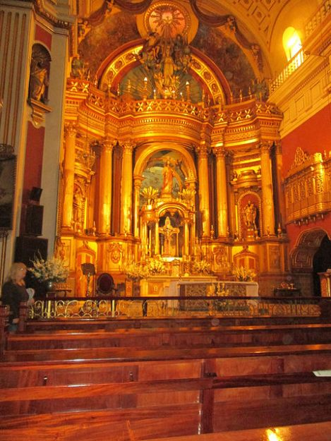 The Altar of La Merced Church in Lima