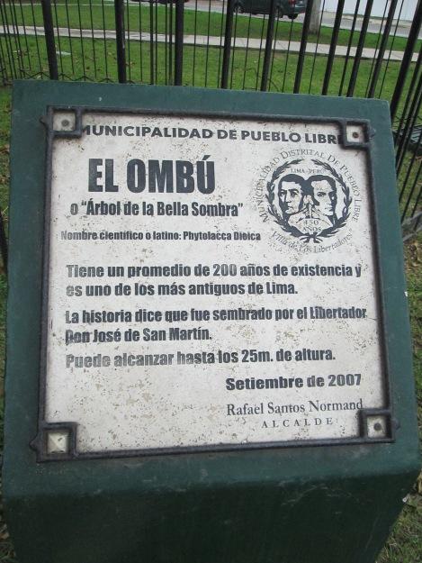 Sign Identifying the Ombú Tree