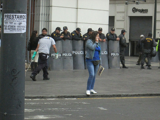 Riot Police with Shields Stationed by the Main Plaza
