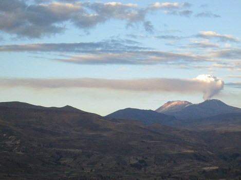 The Volcano Sabancaya in Eruption, seen from Colca Canyon