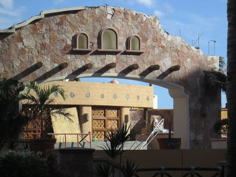 Damage to the Calima Restaurant at the Playa Grande Hotel