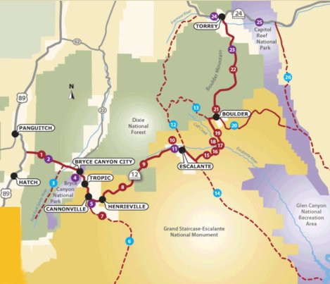 Map of Utah Scenic Byway 12
