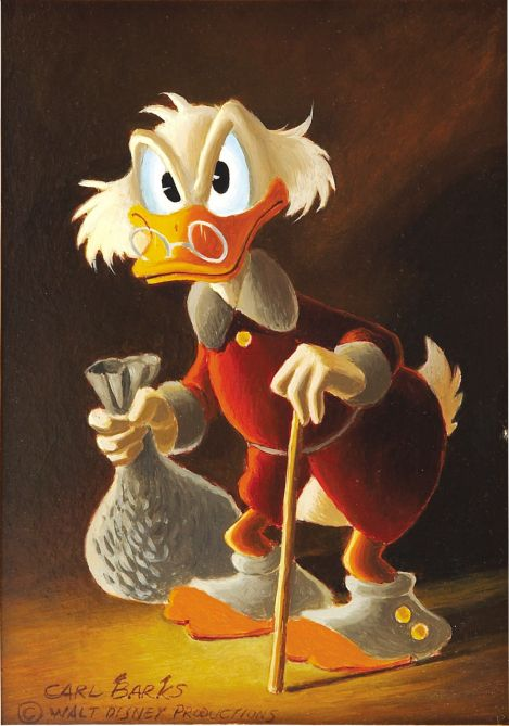 Carl Barks Painting of Uncle Scrooge