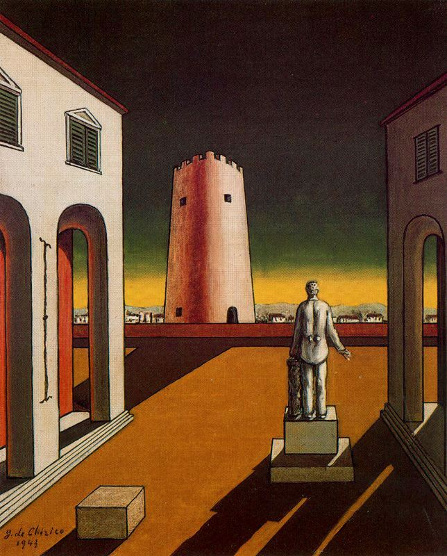 """Giorgio di Chirico's """"Italian Plaza with a Red Tower"""""""