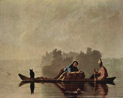 """Fur Traders Descending the Missouri"""