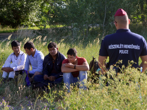 Afghan Men Are Controlled by Hungarian Border Police
