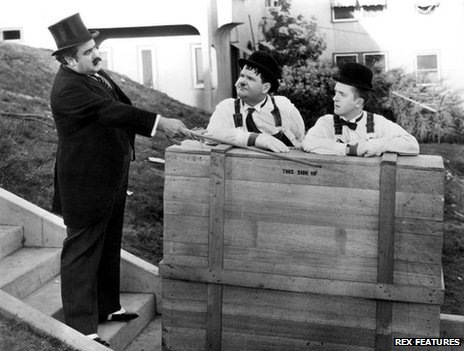 "Billy Gilbert with Laurel and Hardy in ""The Music Box"""