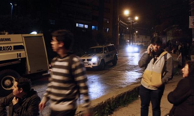 Street Crowds in Valparaíso During Tsunami Alert