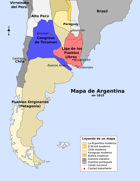 Map of Argentina in 1816