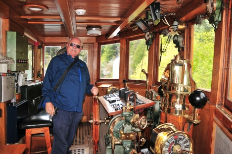 At the Helm of the Modesta Victoria