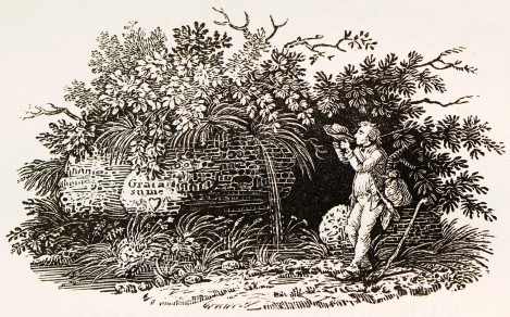 Bewick Depicting Himself as a Traveler Drinking Water from His Hat