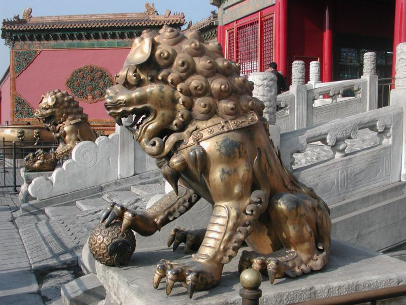 Stone Lion at the Forbidden City in Beijing