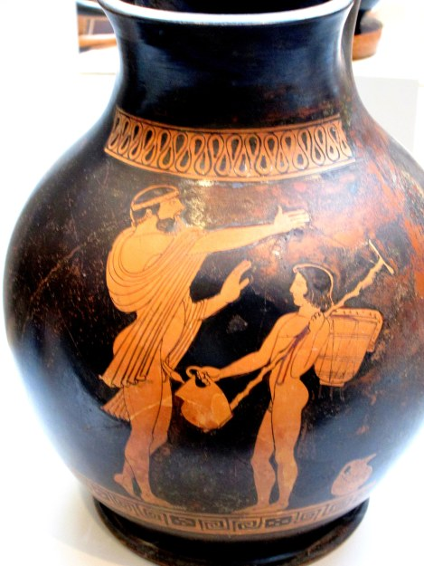 Greek Reveler Draining His Lizard