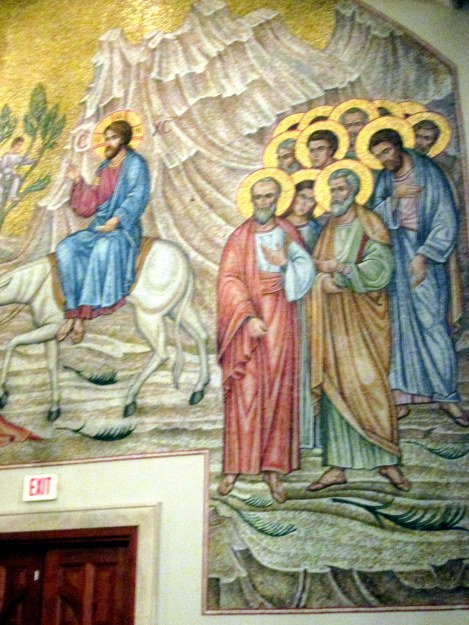Twelve Apostles—All With Haloes—Watching Christ Entering Jerusalem
