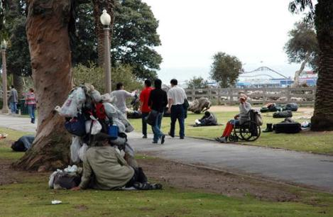 Homeless in Santa Monica's Palisades Park