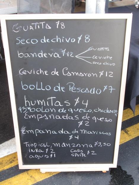 Ecuadorian Menu at Food Stall