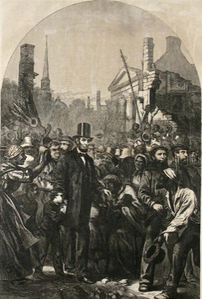 Abe Lincoln Walking he Streets of Richmond in April 1865