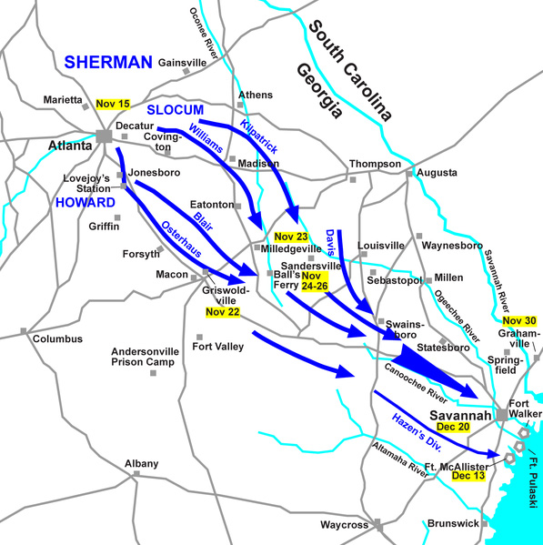 The Route of Sherman's March to the Sea