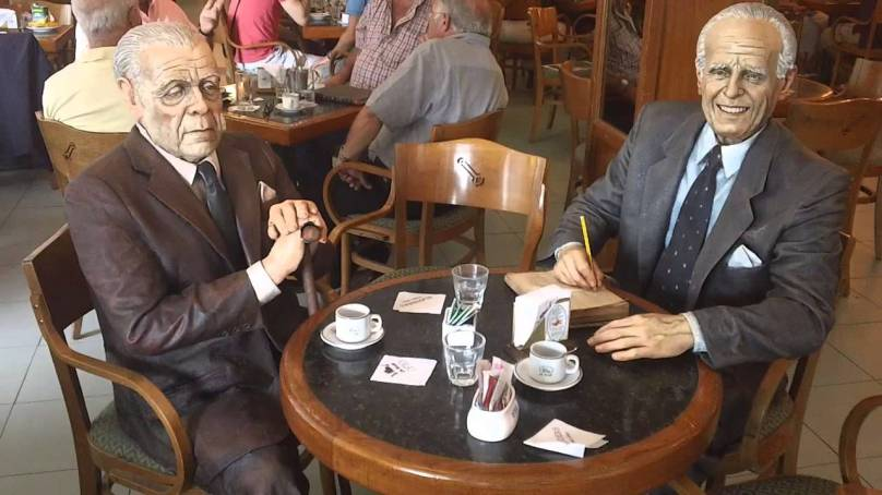 Table for Two at La Biela: Statues of Jorge Luis Borges and Adolfo Bioy Casares