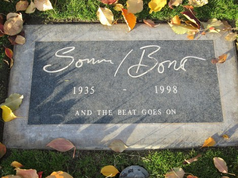 Tombstone of Sonny Bono at Cathedral City's Desert Memorial Park