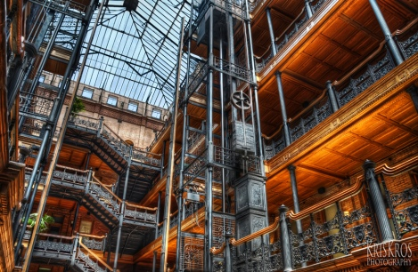 Interior of the Bradbury Building in Los Angeles, Where Most of the Action Occurs