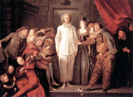Painting of Commedia dell'Arte Figures by Watteau