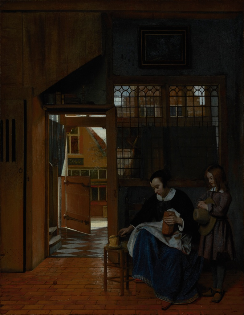 """""""A Woman Preparing Bread and Butter for a Boy"""" by Pieter de Hooch (early 1660s)"""